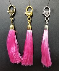 Hot Pink Silk Tassels with a Lobster Claw Clasp