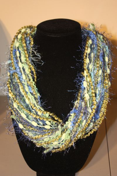 Olive Green/Blues/Light Green Yarn Necklace Scarf