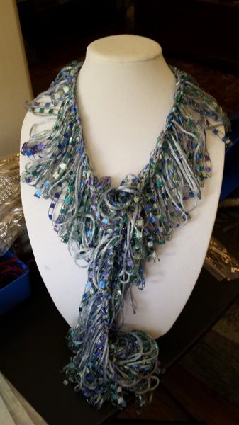 Crocheted Silver Grey Satin Yarn with Blue Hues Trellis Yarn Loop Scarf