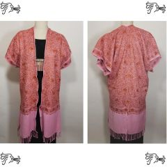 Pink & Copper Embroidered Kimono Jacket Duster Vest