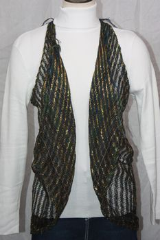 Woven Blue/Green/Gold Lurex Vest/Scarf