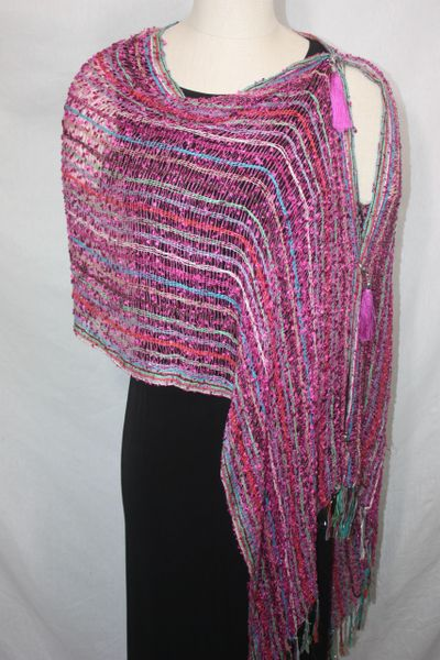 Woven Shades of Magenta, Striped with Red, Green, Blue & White Vest/Poncho/Scarf with Tassel Accents