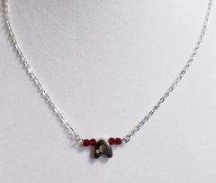 Initial January Birthstone Bar Silver Necklace 16 Inch Chain