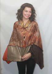 Patchwork Poncho - Rust, Bronze, Camel and Browns