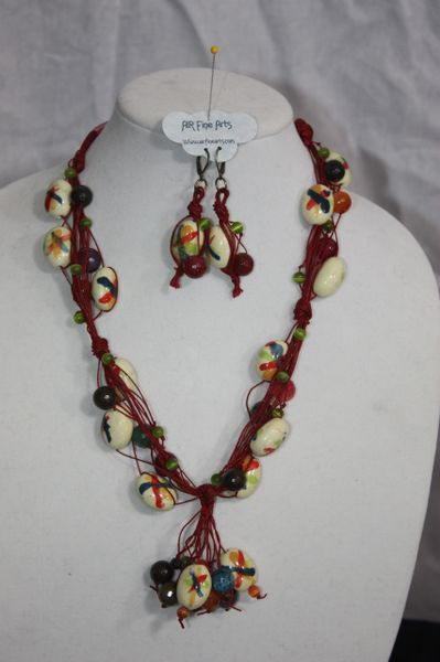 Handknotted Irish Linen Burgundy/Ceramic/Stone Necklace/Earring Set