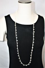 Long Cream Irish Linen Crocheted Lariat with Clear Crystals Beads