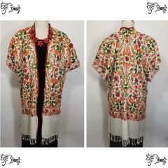 Cream, Peach, Red and Green Embroidered Kashmir 100% Wool Cream Embroidered Lace Kimono