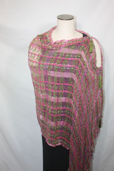 Woven Shades of Magenta and Olive Green Vest/Poncho/Scarf with Tassel Accents