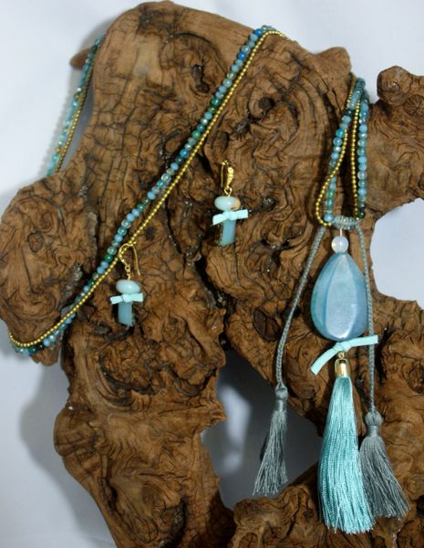 Light Aqua Hue Agate with an Agate Pendant Accentuated with Suede Knot Details and Tassel Necklace/Earring Set