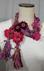 Magenta and Ruby Crocheted Recycled Sari Silk Scarf with Silk Flower, Stone and Bead Embellishment