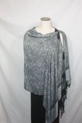 Pashmina Poncho - Gray Silver and Black Silk Paisley Pattern