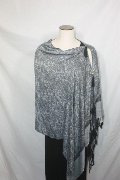 Pashmina Poncho - Gray Silver and Black Silk Paisley Pattern