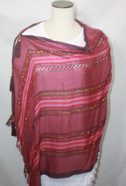 Woven Deep Red Vest/Poncho/Scarf with Tassel Accents