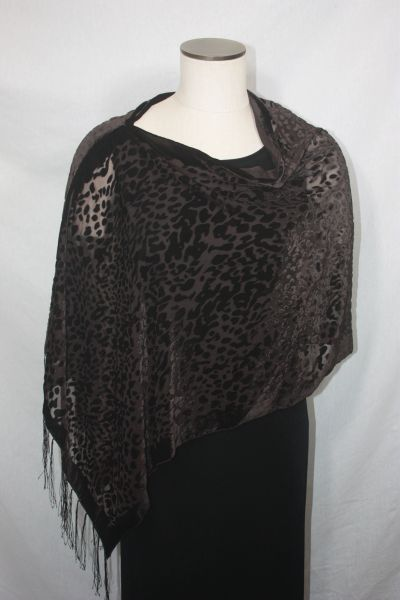 Burnout Velvet Brown Leopard Print Poncho