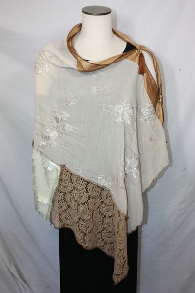 Patchwork Poncho - Beige Embellished Chiffon with Light Brown Lace