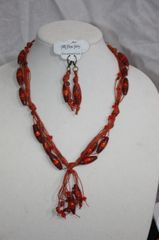 Handknotted Irish Linen Sienna and Crystal Necklace/Earring Set