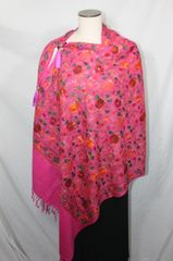 Magenta, Red, Orange and Green Heavy Embroidered Kashmiri 100% wool 4 Way Ponchos Pashminas with Tassel Accents