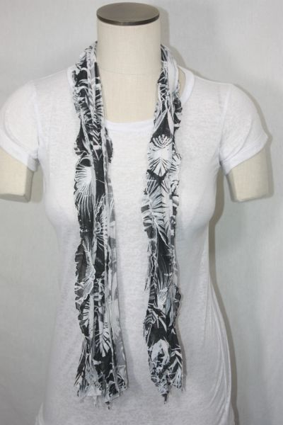 Black and White Zebra Print Flutter Scarf