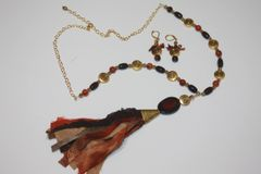 Black, Brown & Rust Tassel Onxy , Carnelian Stone and Gold Bead Necklace with Matching Earrings
