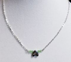Initial August Birthstone Bar Silver Necklace 16 Inch Chain