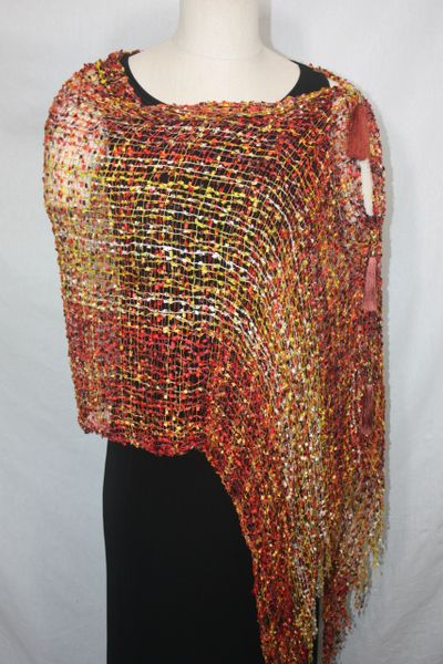 Woven Shades of Yellow, Orange, Burgundy Vest/Poncho/Scarf with Tassel Accents