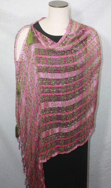 Woven Magenta, Olive Green Vest/Poncho/Scarf with Tassel Accents