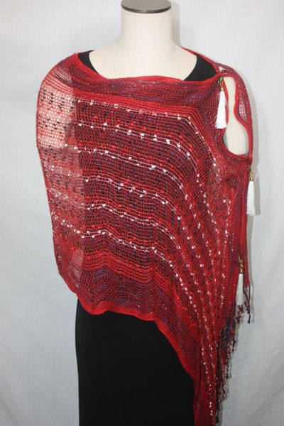 Woven Shades of Red, Blue, White Vest/Poncho/Scarf with Tassel Accents