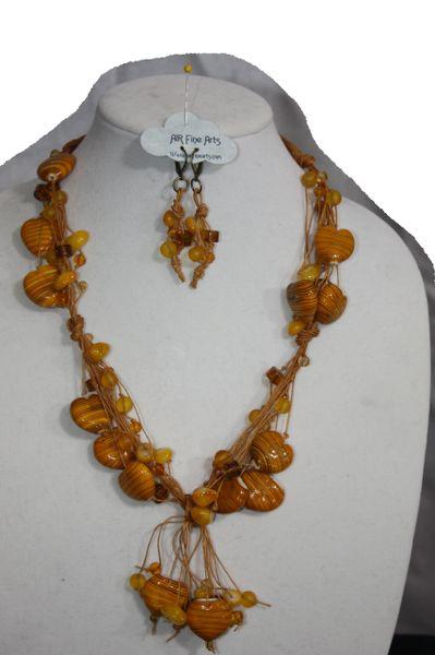 Handknotted Irish Linen Mustard Yellow Heart Shape Bead Necklace/Earring Set