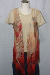 Red, Tan and Peachy Orange Polyester Chiffon Fabric 3-Panel Vest Scarf Lotus Flower Print