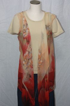 Red, Tan and Peachy Orange Polyester Chiffon Fabric 3-Panel Vest Scarf Lotus Flower Print