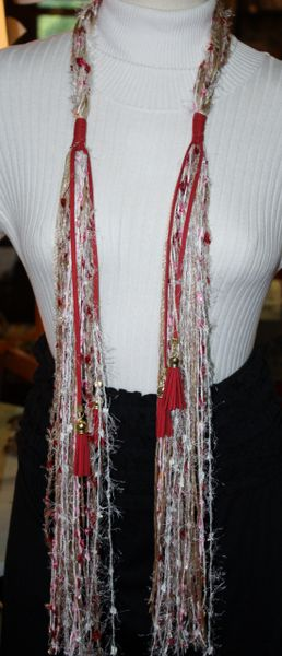 Red, Pink, Tan and Cream Yarn and Ribbon Scarf Embellished with Red Suede and Tassels