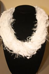 Snow White Mix of Textured Yarn Necklace Scarf