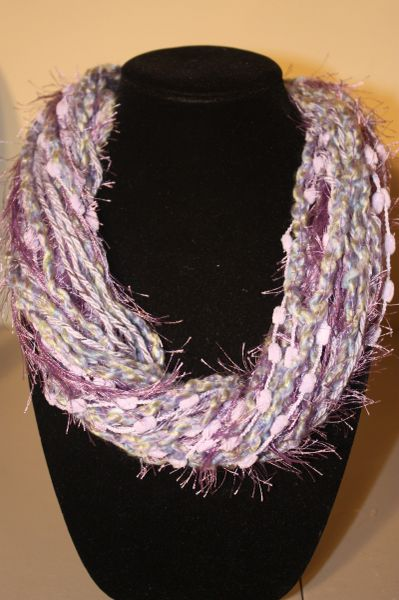 Mix of Lilac Purples Yarn Necklace Scarf
