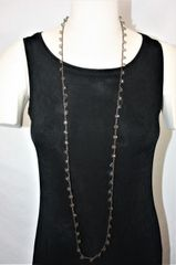 Long Light Brown Irish Linen Crocheted Lariat with Light Brown Wooden Beads
