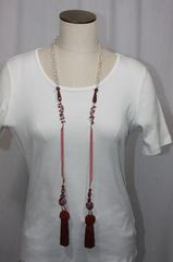 Tassel Lampwork Bead Lariat Necklace Shades of Red