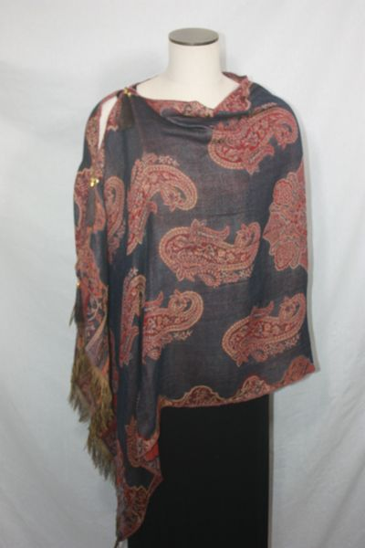 Pashmina Poncho - Black, Burgundy Paisley Pattern