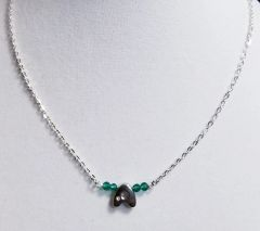 Initial May Birthstone Bar Silver Necklace 16 Inch Chain