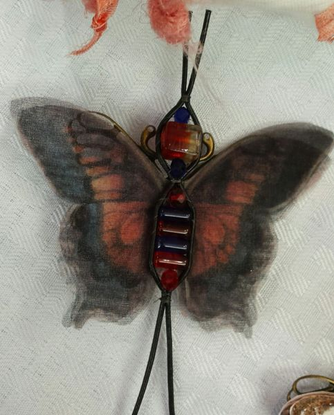 Blueish Black, Red Pin/Pendant Hand Designed Silk Organza with Leather Bead Ladderwrapped Body