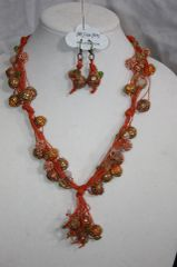 Handknotted Irish Linen Orange Maruti Bead, Copper and Crystal Necklace/Earring Set