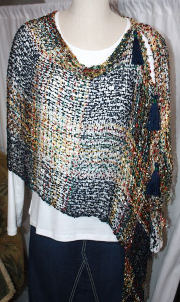 Woven Multi Pink/White/Lime Green/Orange/Black Vest/Poncho/Scarf with Tassel Accents