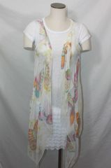 White Polyester Chiffon Fabric 3-Panel Vest Scarf Butterfly Print