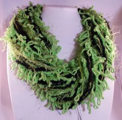 "Black/Lime Green ""IT WORKS"" Yarn Necklace Scarf"