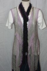 Purple Hues Yarn with Purple Eyelash Crocheted Rope Scarf