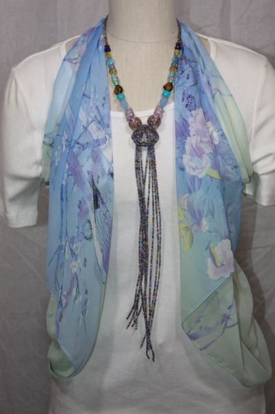 Multi Blue, Golden yellow and Brown Beaded Knot Necklace