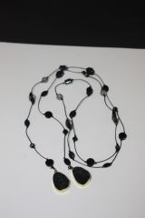 Black Leather Lariat Necklace with Stone, Crystal and Druzy