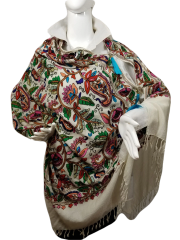 Cream with Black Edge Heavy Embroidered Kashmiri 100% wool 4 Way Ponchos Pashminas with Tassel Accents