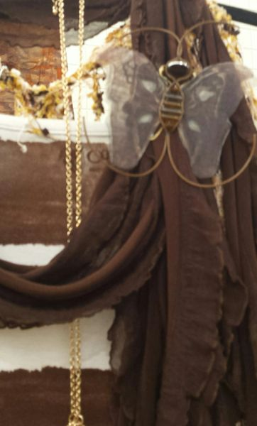 Brown, Cream Pin/Pendant Hand Designed Silk Organza with Leather Bead Ladderwrapped Body