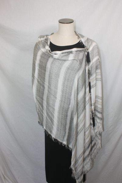 Woven Shades of Off White, Black Vest/Poncho/Scarf with Tassel Accents