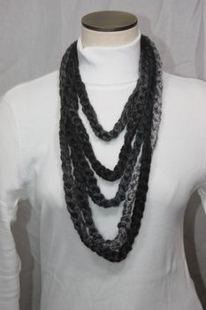 Varigated Black and Grey Crocheted Infinity Scarf