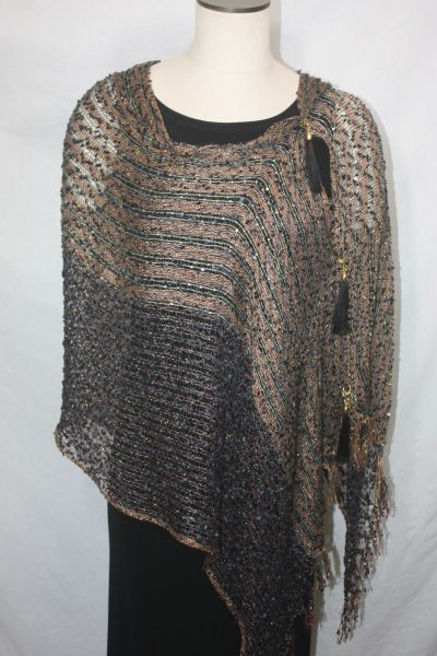 Woven Shades of Brown, Black and Gold Vest/Poncho/Scarf with Tassel Accents